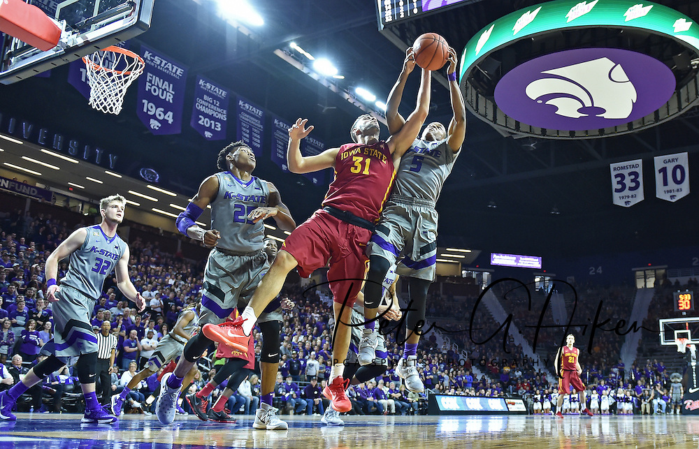 MANHATTAN, KS - JANUARY 16:  Guard Georges Niang #31 of the Iowa State Cyclones battles for the ball against guard Barry Brown #5 of the Kansas State Wildcats during the second half on January 16, 2016 at Bramlage Coliseum in Manhattan, Kansas.  (Photo by Peter G. Aiken/Getty Images) *** Local Caption *** Georges Niang;Barry Brown