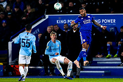 Danny Simpson of Leicester City heads the ball - Mandatory by-line: Robbie Stephenson/JMP - 18/12/2018 - FOOTBALL - King Power Stadium - Leicester, England - Leicester City v Manchester City - Carabao Cup Quarter Finals
