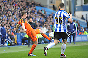 Ipswich Town Kevin Foley (44) looks for team mates as Sheffield Wednesday defender Daniel Pudil (36) puts him under pressure during the Sky Bet Championship match between Sheffield Wednesday and Ipswich Town at Hillsborough, Sheffield, England on 16 April 2016. Photo by John Marfleet.