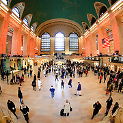 Main concourse of New York's  Grand Central Terminal (Grand Central Station) with fish-eye extreme wide angle.