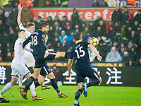 Football - 2017 / 2018 Premier League - Swansea City vs. Tottenham Hotspur<br /> <br /> Fernando Llorente of Spurs shoots at goal in a goalmouth scramble, at The Liberty Stadium.<br /> <br /> COLORSPORT/WINSTON BYNORTH
