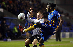 Joe Ward of Peterborough United in action with Omar Beckles of Shrewsbury Town - Mandatory by-line: Joe Dent/JMP - 24/04/2018 - FOOTBALL - Montgomery Waters Meadow - Shrewsbury, England - Shrewsbury Town v Peterborough United - Sky Bet League One