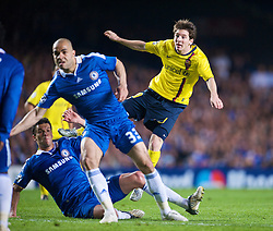 LONDON, ENGLAND - Wednesday, May 6, 2009: Barcelona's Lionel Messi shoots against Chelsea during the UEFA Champions League Semi-Final 2nd Leg match at Stamford Bridge. (Photo by David Rawcliffe/Propaganda)