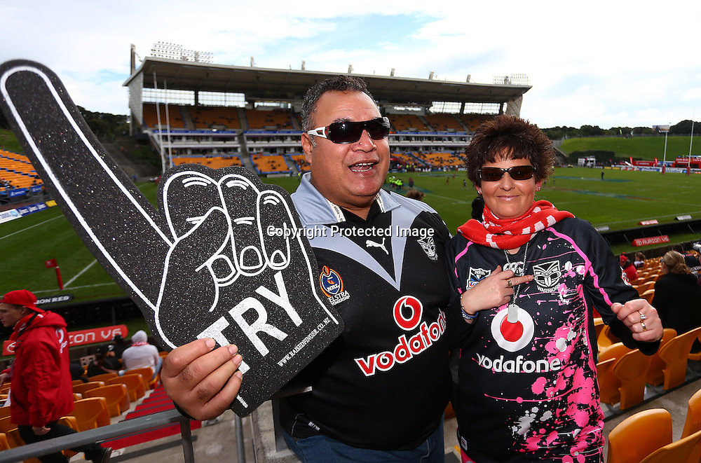 Vodafone fans and supporters at the Warriors v Panthers match at Mt Smart Stadium on Sunday 19 August 2012. Photo: Simon Watts/photosport.co.nz