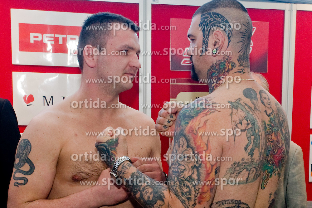 Ladislav Slezak of Slovakia vs Gonzalo Omar Basile of Argentina at official weighing before box fighting, on April 8, 2010, in Avto Delta, Ljubljana, Slovenia.  (Photo by Vid Ponikvar / Sportida)