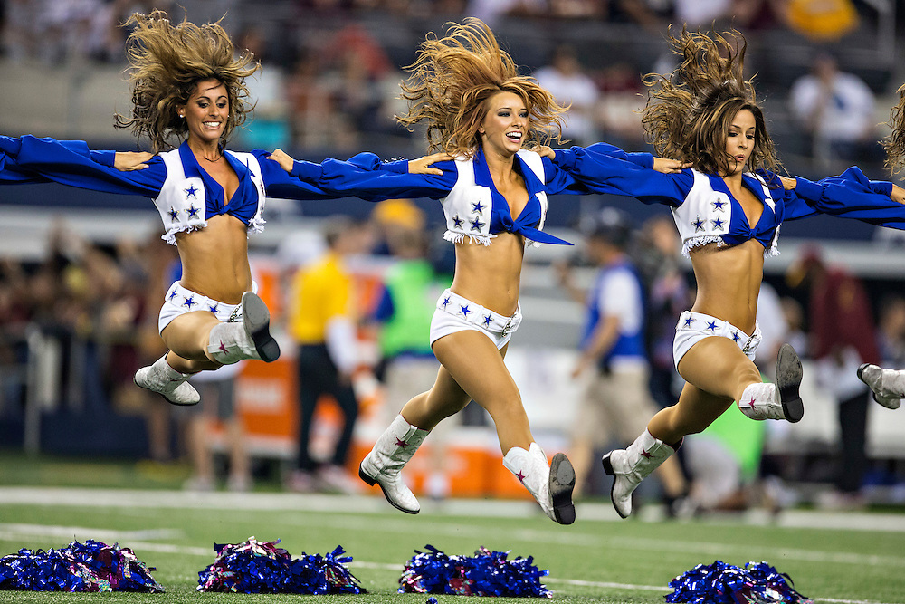 ARLINGTON, TX - OCTOBER 13:  Cheerleader of the Dallas Cowboys performs during a game against the Washington Redskins at AT&T Stadium on October 13, 2013 in Arlington, Texas.  The Cowboys defeated the Redskins 31-16.  (Photo by Wesley Hitt/Getty Images) *** Local Caption ***