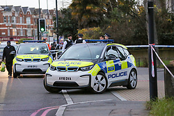 © Licensed to London News Pictures. 06/02/2019. London, UK. A crime scene on Castlewood Road in Hackney after a teenager was stabbed on a bus and airlifted to hospital. The Met Police confirmed they were called just before 3.00pm and discovered the male with stab wounds. Photo credit: Dinendra Haria/LNP