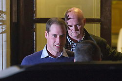 © London News Pictures. 04/12/2012. London, UK. A smiling Prince William leaving King Edward VII Hospital  in London after visiting The Duchess Of Cambridge, Kate Middleton who is currently being treated for a type of severe morning sickness called hyperemesis gravidarum. The royal couple announced the pregnancy yesterday (Mon). Photo credit: Ben Cawthra/LNP
