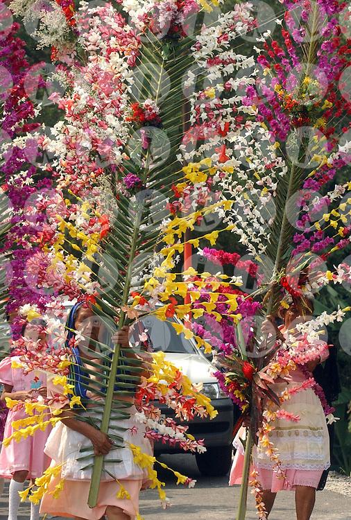 Residents of Panchimalco, El Salvador dressed as Moors and Christians carried the procession of the flower festival tradional Sunday May 10, 2009. A traditional festival in which hundreds of coconut palms are ardon with flowers..Pobladores de Panchimalco, El Salvador vestidos de moros y cristianos realizan la procesión de las tradional fiesta de las flores  Domingo May 10, 2009. Una fiesta tradicional en la que centenares de palmas de coco son ardonadas con flores naturales. Edgar ROMERO/Imagenes Libres