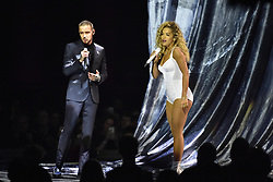 EDITORIAL USE ONLY.<br /><br />Liam Payne and Rita Ora perform on stage at the Brit Awards at the O2 Arena, London.