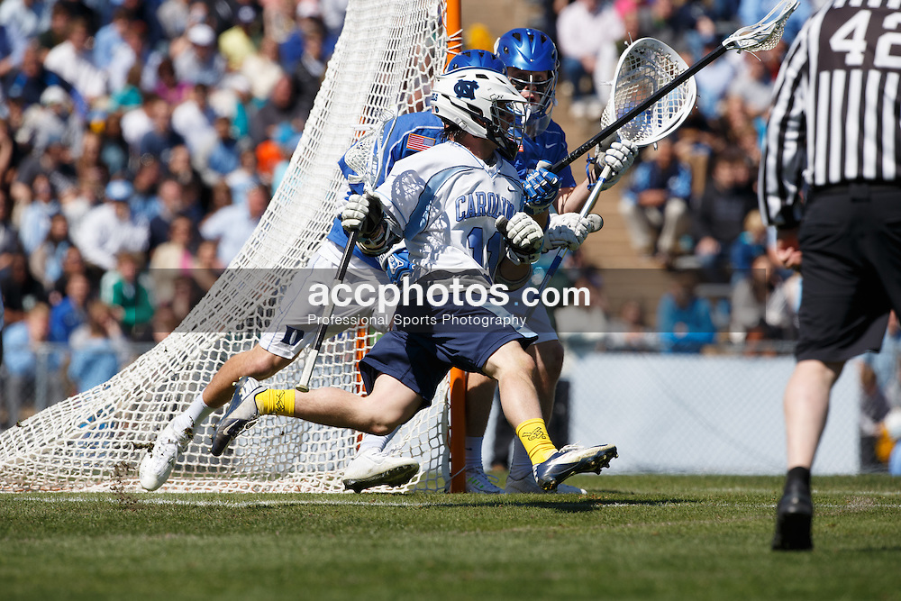 2015 March 29: Joey Sankey #11 of the North Carolina Tar Heels during a 14-15 win over the Duke Blue Devils at Fetzer Field in Chapel Hill, NC. (Photo by Peyton Williams/US Lacrosse)