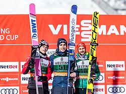 01.02.2019, Heini Klopfer Skiflugschanze, Oberstdorf, GER, FIS Weltcup Skiflug, Oberstdorf, Siegerehrung, im Bild 2. Platz Dawid Kubacki (POL), Sieger Timi Zajc (SLO), 3. Platz Markus Eisenbichler (GER) // 2nd placed Dawid Kubacki of Poland Winner Timi Zajc of Slovenia 3rd placed Markus Eisenbichler of Germany during the winner Ceremony of FIS Ski Jumping World Cup at the Heini Klopfer Skiflugschanze in Oberstdorf, Germany on 2019/02/01. EXPA Pictures © 2019, PhotoCredit: EXPA/ JFK