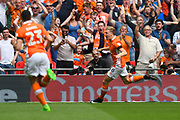 Brad Potts (8) of Blackpool celebrates scores a goal to give a 1-0 lead to the home team during the EFL Sky Bet League 2 play off final match between Blackpool and Exeter City at Wembley Stadium, London, England on 28 May 2017. Photo by Graham Hunt.