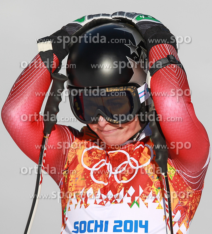 12.02.2014, Rosa Khutor Alpine Resort, Krasnaya Polyana, RUS, Sochi, 2014, Abfahrt, Damen, im Bild Lara Gut (SUI) // Lara Gut of Switzerland during the ladies downhill to the Olympic Winter Games 'Sochi 2014' at the Rosa Khutor Alpine Resort, Krasnaya Polyana, Russia on 2014/02/12. EXPA Pictures &copy; 2014, PhotoCredit: EXPA/ Stefan Matzke <br /> <br />  *****ATTENTION - OUT of GER*****