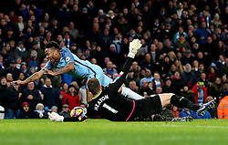 Raheem Sterling of Manchester City goes down after a challenge by Thomas Heaton of Burnley - Mandatory by-line: Matt McNulty/JMP - 02/01/2017 - FOOTBALL - Etihad Stadium - Manchester, England - Manchester City v Burnley - Premier League