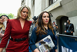 © Licensed to London News Pictures. 07/09/2020. LONDON, UK. Julian Assange's lawyer, Jennifer Robinson (L) and fiancée, Stella Moris (C), arrive at the Old Bailey as Julian Assange's extradition hearing, which is expected to last for the next three or four weeks, resumes after it was postponed due to the coronavirus pandemic lockdown.  Julian Assange is wanted in the US for allegedly conspiring with army intelligence analyst Chelsea Manning to expose military secrets in 2010.  Photo credit: Stephen Chung/LNP