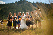 A bride poses with her bridesmaids before her wedding at Plumb Jack, Squaw Valley, Tahoe, California.