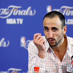 Jun 6, 2013; Miami, FL, USA; San Antonio Spurs shooting guard Manu Ginobili addresses the media in the post game press conference of game one of the 2013 NBA Finals at the American Airlines Arena. San Antonio Spurs defeated the Miami Heat 92-88. Mandatory Credit: Derick E. Hingle-USA TODAY Sports