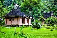 Indonesia, Sumatra. Bukit Lawang. Gunung Leuser National Park is one of the two remaining habitats for Sumatran Orangutans. Park entrance.