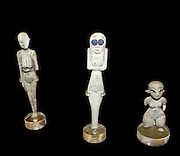 Figurines of bone and ivory. Predynastic, Naqada I. 4000-3600 BC. Ivory and bone figures of this type first appeared in the Naqada I period and continued into Naqada II. The inlaid eyes in one example are of lapis-lazuli may be a later addition.