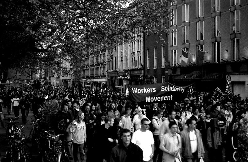 Anti Imperialism demonstration in Dublin, Ireland 2003.