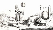 Von Guericke's sulphur ball electric machine. From 'Experimenta Nova' by Otto von Guericke (Amsterdam, 1672).