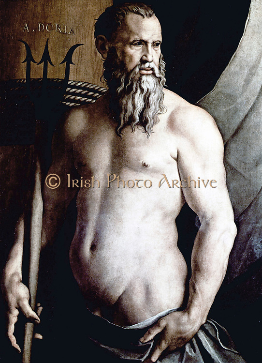 Andrea Doria  as neptune by Agnolo Bronzino, Conservato nella Pinacoteca di Brera a Milano. As imperial admiral he commanded several expeditions against the Ottoman Empire, capturing Koroni and Patras, and co-operating with the emperor himself in the capture of Tunis (1535). Charles found him an invaluable ally in the wars with Francis I, and through him extended his domination over the whole of Italy. In February 1538, Pope Paul III succeeded in assembling a Holy League (comprising the Papacy, Spain, the Holy Roman Empire, the Republic of Venice and the Maltese Knights) against the Ottomans, but Barbarossa defeated its combined fleet, commanded by Andrea Doria, at the Battle of Preveza in September 1538. This victory secured Turkish dominance over the Mediterranean for the next 33 years, until the Battle of Lepanto in 1571.
