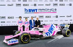 17.02.2020, BWT Headquarter, Mondsee, AUT, FIA, Formel 1, Racing Point Auto Präsentation, im Bild v.l. Lance Stroll, Sergio Perez, Andreas Weissenbacher (BWT), Otmar Szafnauer (Teamchef) // f.l. Lance Stroll Sergio Perez Otmar Szafnauer (Team Principal & CEO) Andreas Weissenbacher (BWT CEO) during the FIA formula 1 car presentation of Racing Point at the BWT Headquarter in Mondsee, Austria on 2020/02/17. EXPA Pictures © 2020, PhotoCredit: EXPA/ Johann Groder