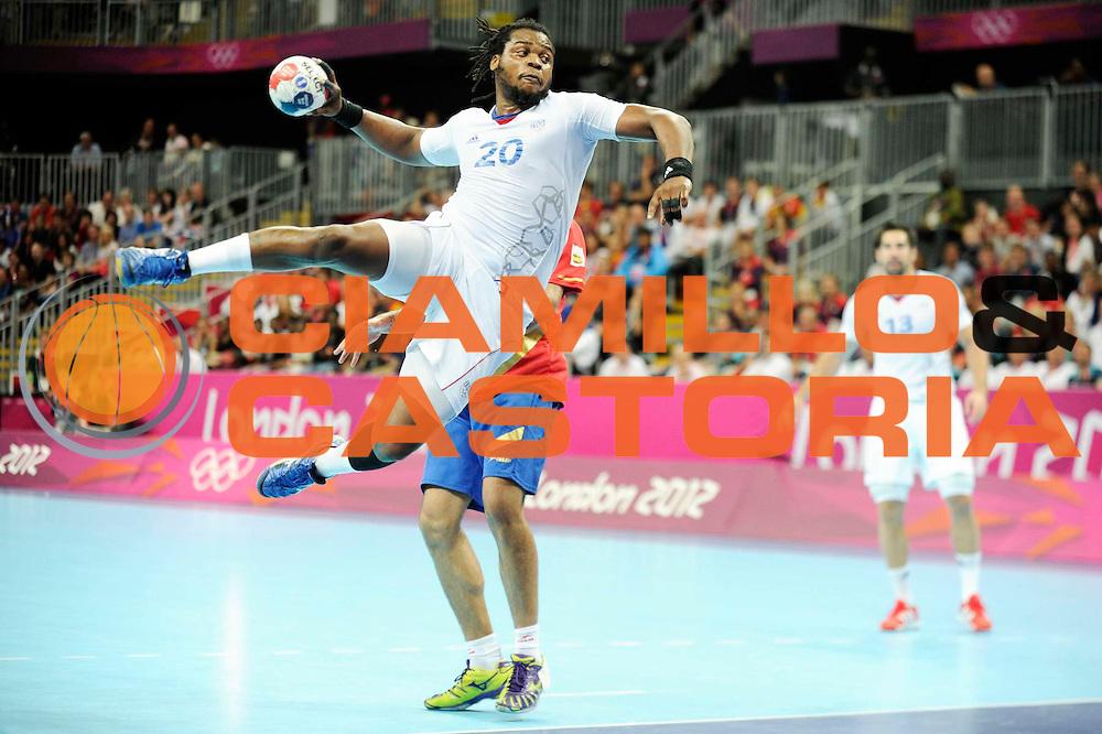 DESCRIZIONE : Handball Jeux Olympiques Londres Quart de Finale<br /> GIOCATORE : Sorhaindo Cedric FRA<br /> SQUADRA : France Homme<br /> EVENTO : FRANCE Handball Jeux Olympiques<br /> GARA : France Espagne<br /> DATA : 08 08 2012<br /> CATEGORIA : handball Jeux Olympiques<br /> SPORT : HANDBALL<br /> AUTORE : JF Molliere <br /> Galleria : France JEUX OLYMPIQUES 2012 Action<br /> Fotonotizia : France Handball Homme Jeux Olympiques Londres Quart de Finale Basketball Arena<br /> Predefinita :