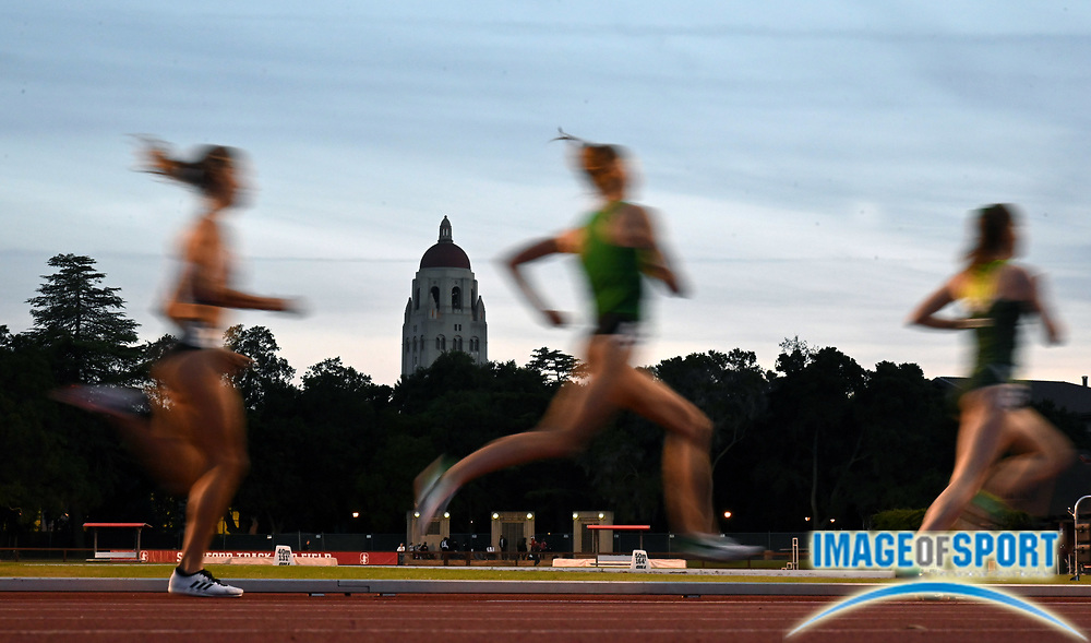 May 2, 2019; Stanford, CA, USA; General overall view of a women's' 1,500m heat with Hoover Tower as a backdrop during the 24th Payton Jordan Invitational at Cobb Track & Angell Field.