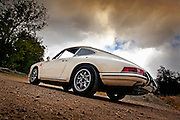 Image of a white 1967 Porsche 911 RSR in southern California, property released