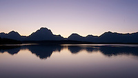 Grand Tetons silhouetted at sunset