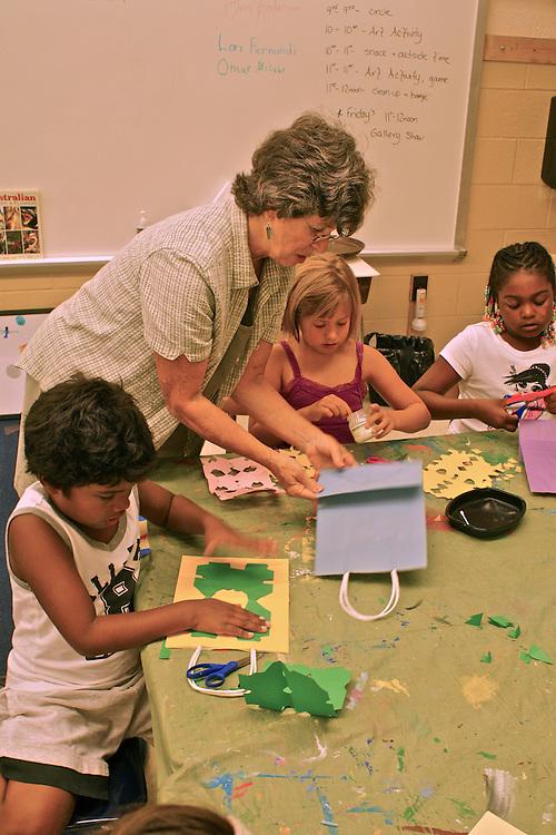 Children's art class, racially mixed, Cape May summer art