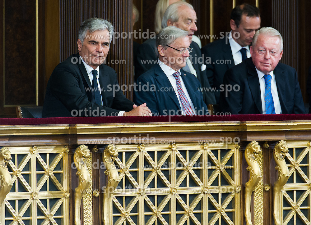 08.07.2016, Historischer Sitzungssaal, Wien, AUT, Parlament, Bundesversammlung zur Verabschiedung des scheidenden Bundespräsidenten Fischer, im Bild die ehemaligen Bundeskanzler Werner Faymann, Wolfgang Schüssel und Franz Vranitzky // the former Chancellors of Austria Werner Faymann, Wolfgang Schuessel and Franz Vranitzky during farewell ceremony for the federal president of austria at austrian parliament in Vienna, Austria on 2016/07/08, EXPA Pictures © 2016, PhotoCredit: EXPA/ Michael Gruber
