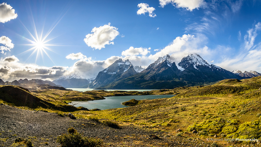 A fish-eye shot of the Torres del Paine mountain range taken from the Mirador del Nordenskjöld.