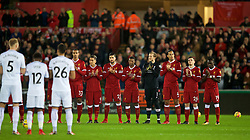 SWANSEA, WALES - Monday, January 22, 2018: Liverpool and Swansea City players stand for a moment's applause to remember Jimmy Armfield during the FA Premier League match between Swansea City FC and Liverpool FC at the Liberty Stadium. (Pic by David Rawcliffe/Propaganda)