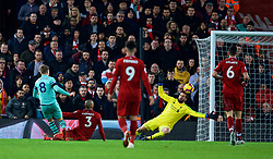 LIVERPOOL, ENGLAND - Saturday, December 29, 2018: Arsenal's Aaron Ramsey shoots during the FA Premier League match between Liverpool FC and Arsenal FC at Anfield. (Pic by David Rawcliffe/Propaganda)