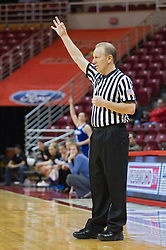 03 January 2014:  Referee Bob Trammel during an NCAA women's basketball game between the Drake Bulldogs and the Illinois Sate Redbirds at Redbird Arena in Normal IL