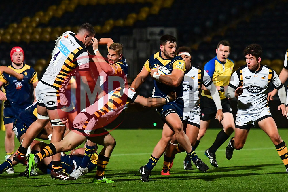 Matti Williams of Worcester Cavaliers evades the tackle of Sam Sterling of Wasps - Mandatory by-line: Craig Thomas/JMP - 23/10/2017 - RUGBY - Sixways Stadium - Worcester, England - Worcester Cavaliers v Wasps - Aviva A League