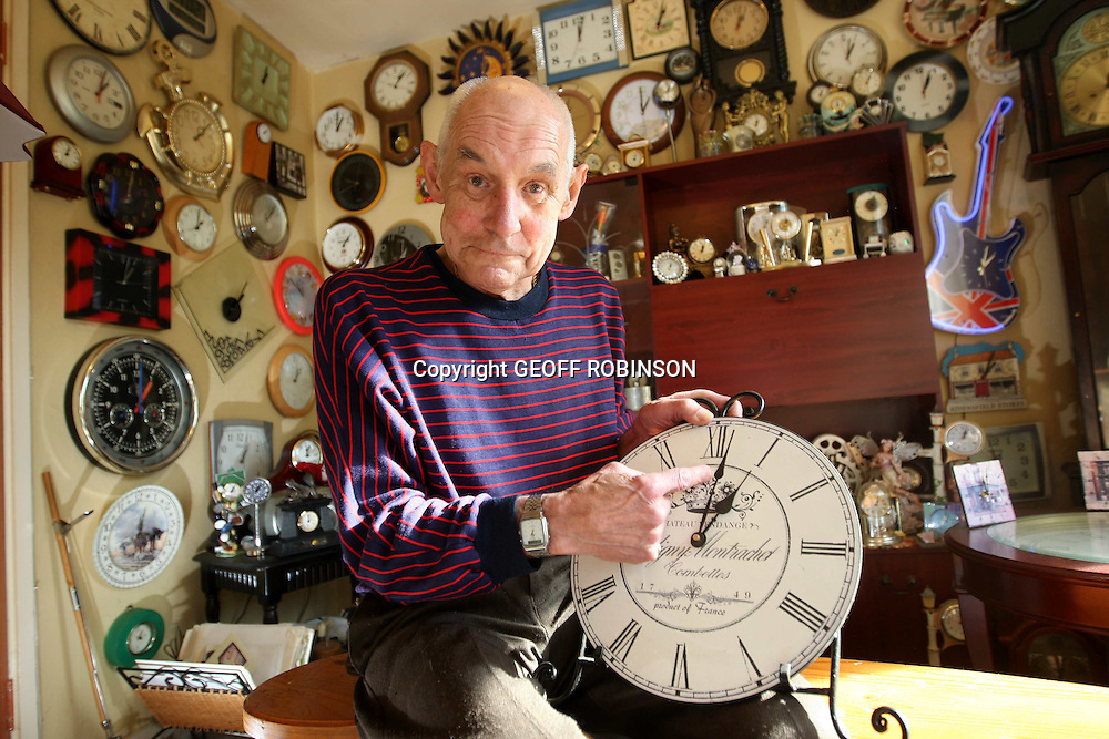 "A man with more than 650 clocks in his home will spend TWO weeks resetting them when the clocks go back tomorrow (Sun Oct 26)...Keith Giddings,(PICTURED)  from Berkhamsted,Hertfordshire,who is known as Mr Tick Tock, has a mammoth task ahead of him when the clocks move backwards from British Summer Time to Greenwich Mean Time at 1am...The 66-year-old has been collecting clocks for 35 years and now has hundreds squeezed onto every wall of his two-bedroom home...""It takes me at least two weeks to change all the clocks in the house"", he said...""I do it a wall at a time but my wife gets confused as for a couple of weeks they all show different times...""You should never wind a clock backwards so it's a long process, but for me it's a real labour of love.""..Keith first started collecting clocks after moving into his home with wife Majorie, 65, shortly after they were married...The couple bought a wooden wall clock and Keith liked it so much he kept buying more and more clocks...They now have more than 340 in the lounge, 25 in their bedroom, 40 in the kitchen, 12 in the downstairs loo and even a few in the garden...Keith said: ""I've got clocks of all shapes and sizes. I've got a bendy clock, I've got one with cogs that move in different directions, one that only has 10 numbers and an Irish clock that goes backwards...""I've even got a guitar-shaped clock and a cushion clock...""I don't know why I like clocks so much, but I love every single one of them...""I get given clocks for every birthday and Christmas and I'll never stop collecting. My wife thinks I'm crazy but just accepts my hobby now.""..Keith, whose house is called Clocks and who has a budgie called Tick Tock, said visitors find the house rather noisy... SEE COPY CATCHLINE CLOCKS TAKE 2 WEEKS TO GO  BACK..."