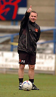 Photo: Leigh Quinnell.<br /> Mansfield Town v Carlisle United. Coca Cola League 2. 22/04/2006. Carlise manager Paul Simpson. Job well done?
