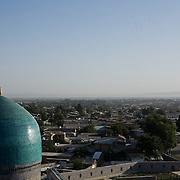 View across Samarkand from top of Ulugbek Medrassa minaret