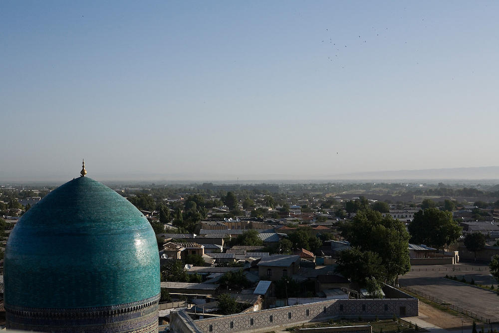 View across Samarkand from top of Ulugbek Medrassa minaret