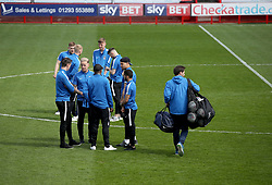 Coventry City Players on the pitch as they arrive at Crawley Town's Checkatrade.com Stadium ahead of their Sky Bet league two match against Crawley Town.