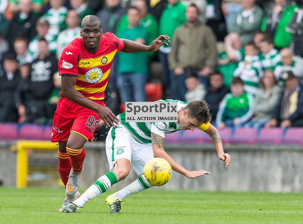 Mathias Pogba challneges Mikael Lustig during the Scottish Premiership match between Partick Thistle and Celtic (c) ROSS EAGLESHAM | Sportpix.co.uk
