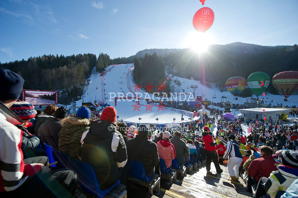 22.01.2012, Podkorn, Kranjska Gora, SLO, FIS Weltcup Ski Alpin, Kranjska Gora, Damen, Slalom, Podium, im Bild View on the course during 2nd Run of 48th Golden Fox Audi Alpine FIS Ski World Cup Ladies Slalom, on January 22, 2012 in Podkorn, Kranjska Gora, Slovenia. EXPA Pictures © 2012, PhotoCredit: EXPA/ Sportida/ Matic Klansek Velej..***** ATTENTION - OUT OF SLO *****