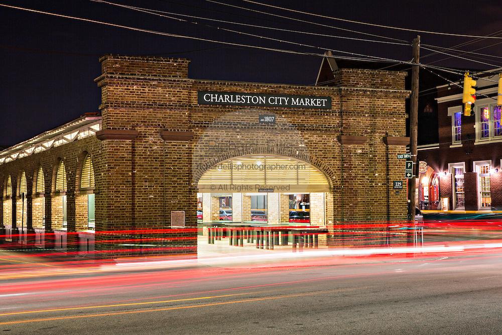 Night view of the Historic Charleston City Market on Market Street in Charleston, SC.