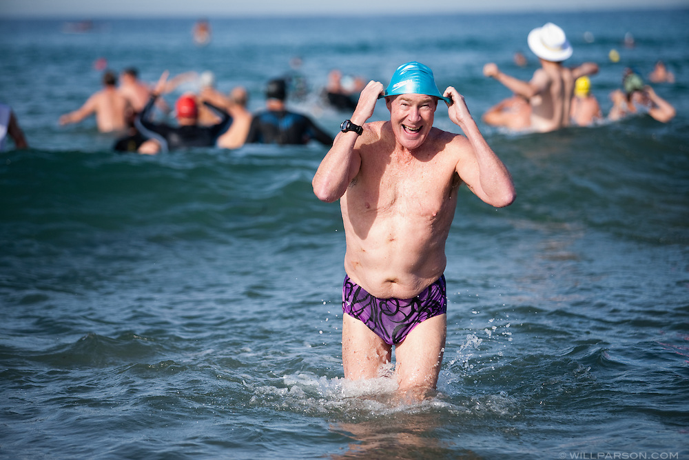 Pete Pettigrew had his gall bladder removed a week before the Polar Plunge at La Jolla Shore Beach on New Year's Day.