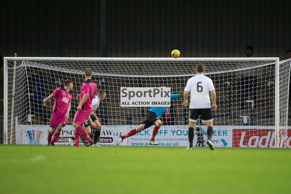 Neil Parry (Airdrie 1) can&rsquo;t get to Michael Donalds shot as Ayr score the second goal in the Ayr United v Airdrieonians Somerset Park Ayr 21 November 2015<br />