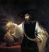 Aristotle Contemplating the Bust of Homer' . Oil on canvas. Rembrandt Harmenszoon van Rijn (1606-1669) Dutch painter and etcher. Portrait Philosopher Ancient Greek